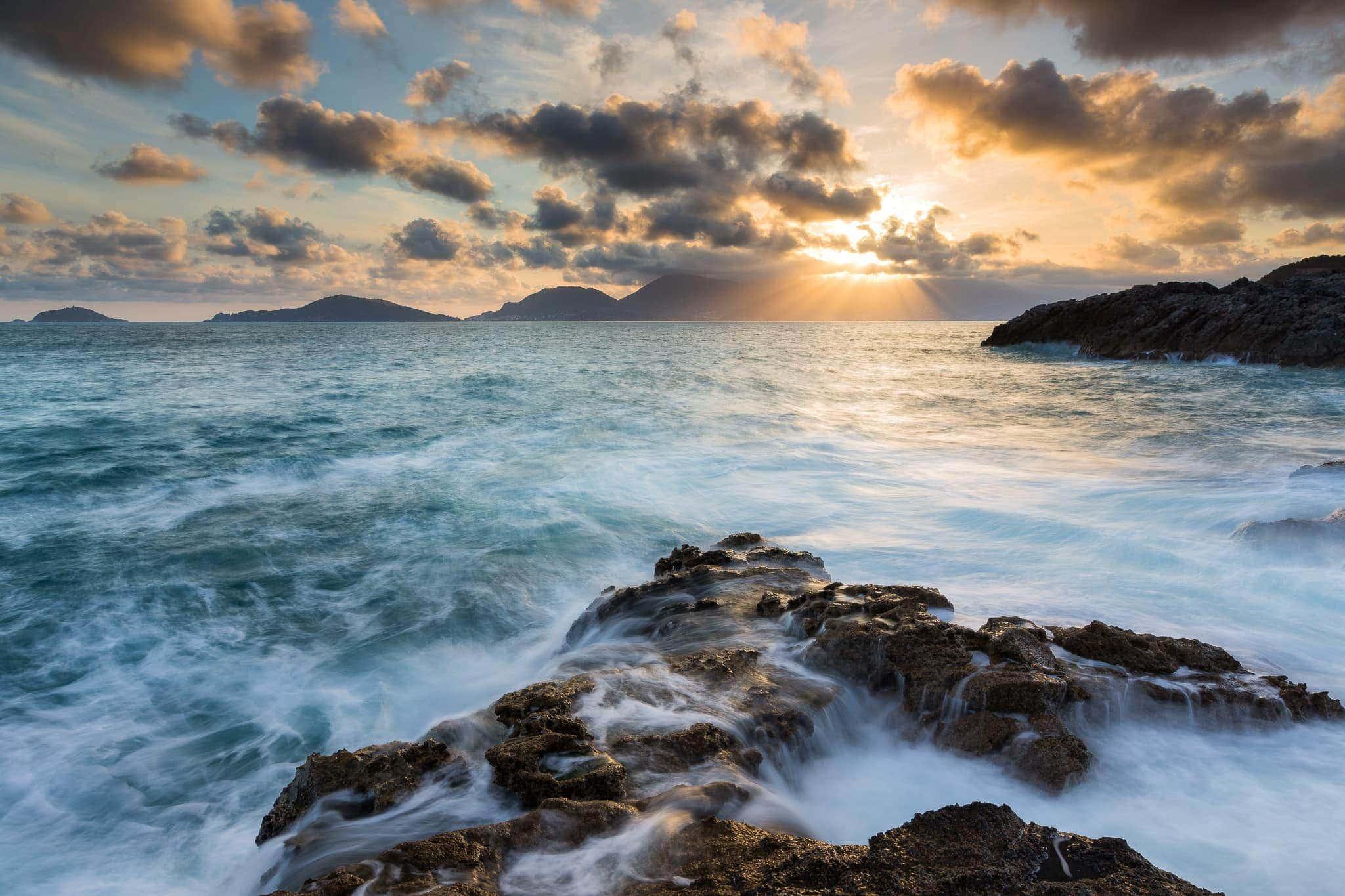 Francesco Gola Seascape Landscape Photography Long Exposure Sunset Summer Lerici Gulf Poets