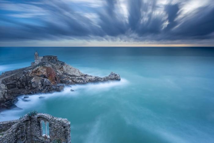 Francesco Gola Seascape Landscape Photography Long Exposure Porto Venere Sunset Blue