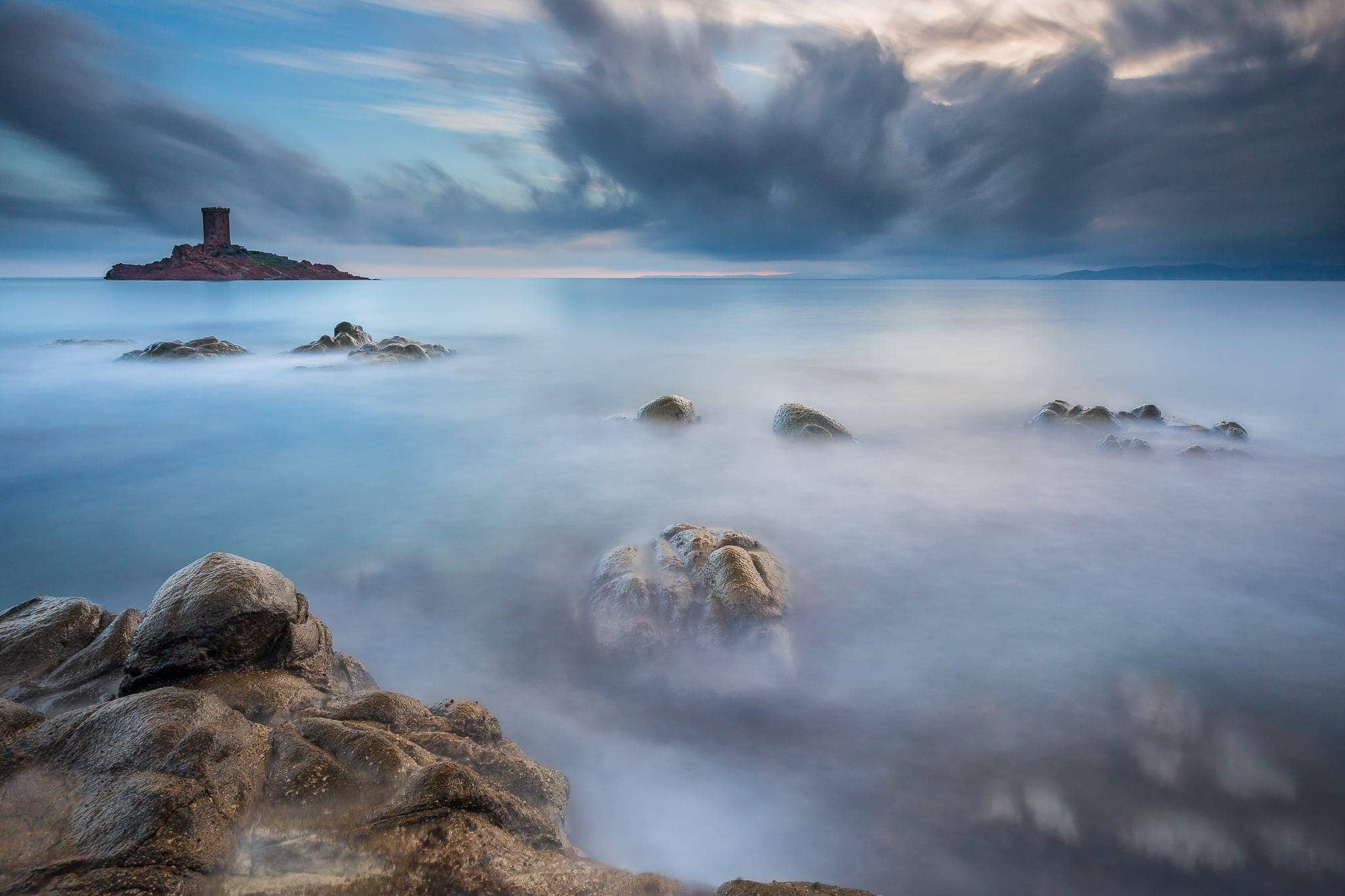 Francesco Gola Seascape Landscape Photography Long Exposure Clouds Dramont Storm France Cote Azur Dramont