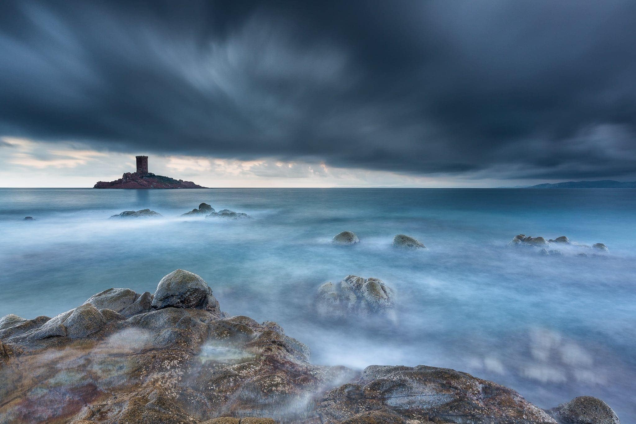 Francesco Gola Seascape Landscape Photography Long Exposure Stormy Cote Azur Dramont France