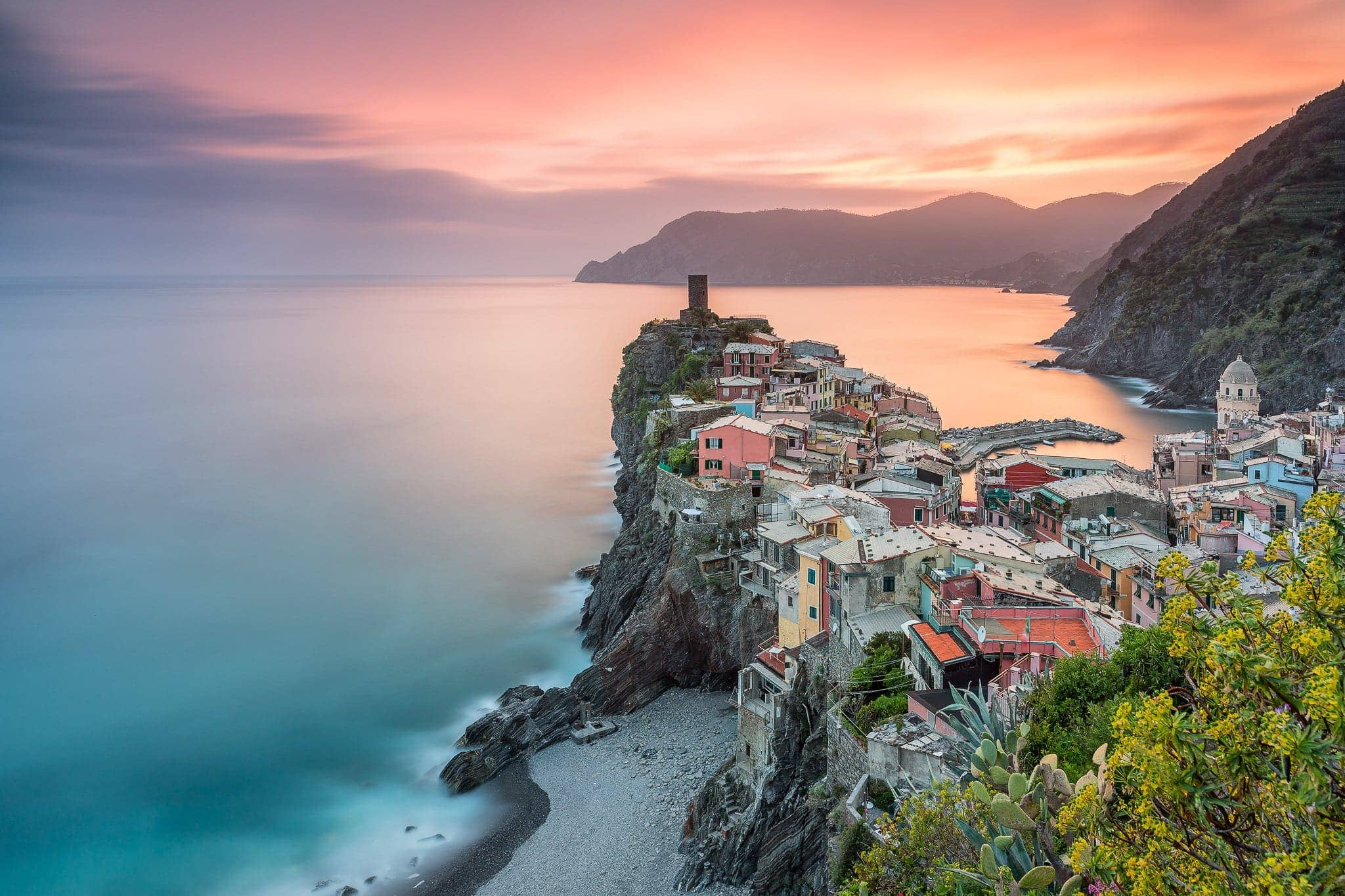 Francesco Gola Seascape Landscape Photography Vernazza Summer Breeze Sunset Cinque Terre Liguria Italy Long Exposure