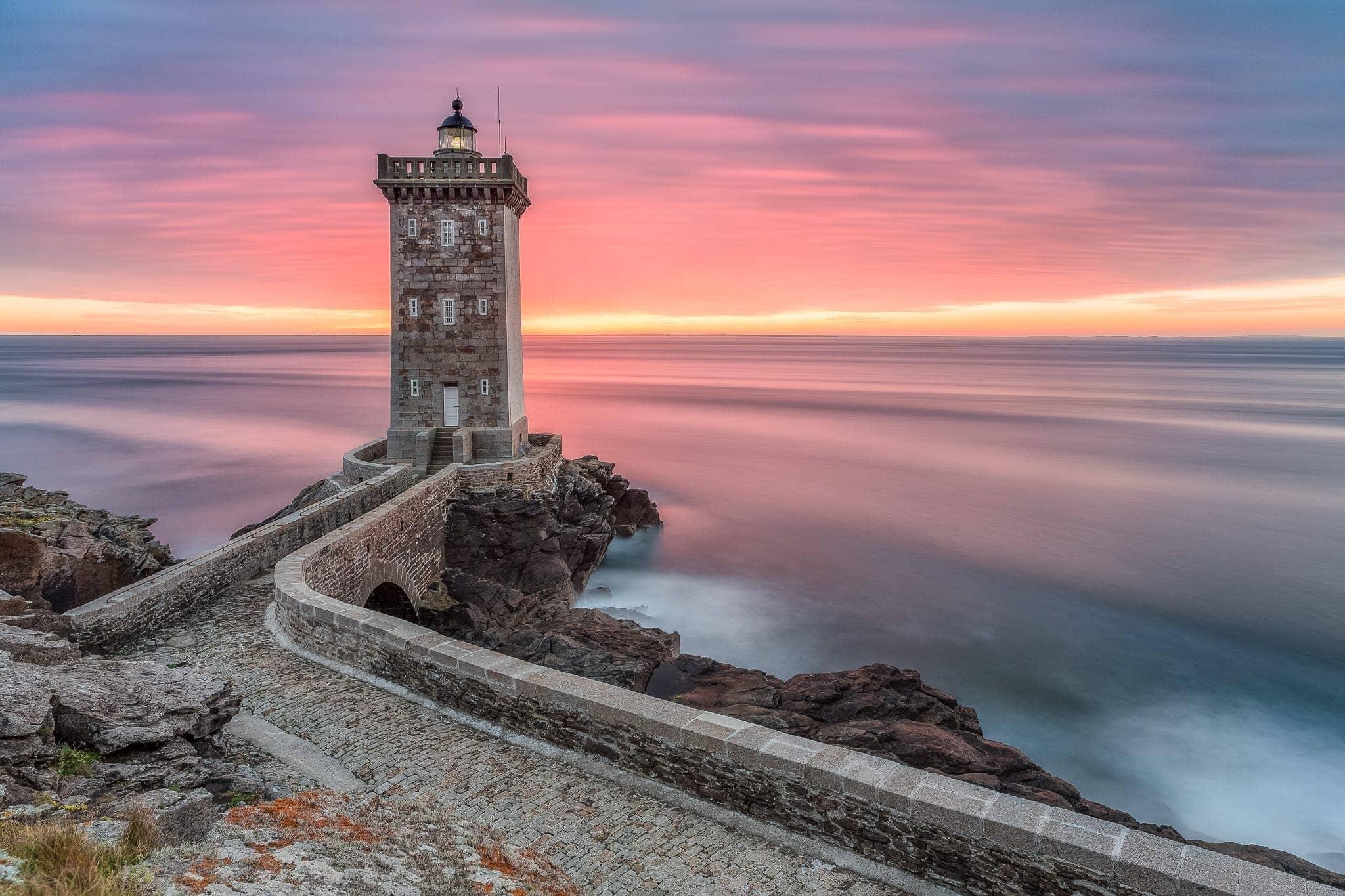 Francesco Gola Seascape Landscape Photography Kermorvan Sunset Boulevard Brittany Bretagne France Lighthouse Long Exposure