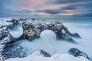 Francesco Gola Seascape Landscape Photography Arnastarpi Arch Winters Snow Iceland Long Exposure