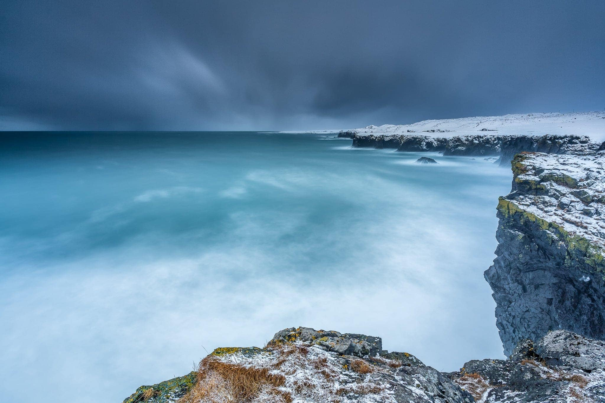 Francesco Gola Seascape Landscape Photography Iceland Blizzard Arnastarpi Snow Winter Long Exposure