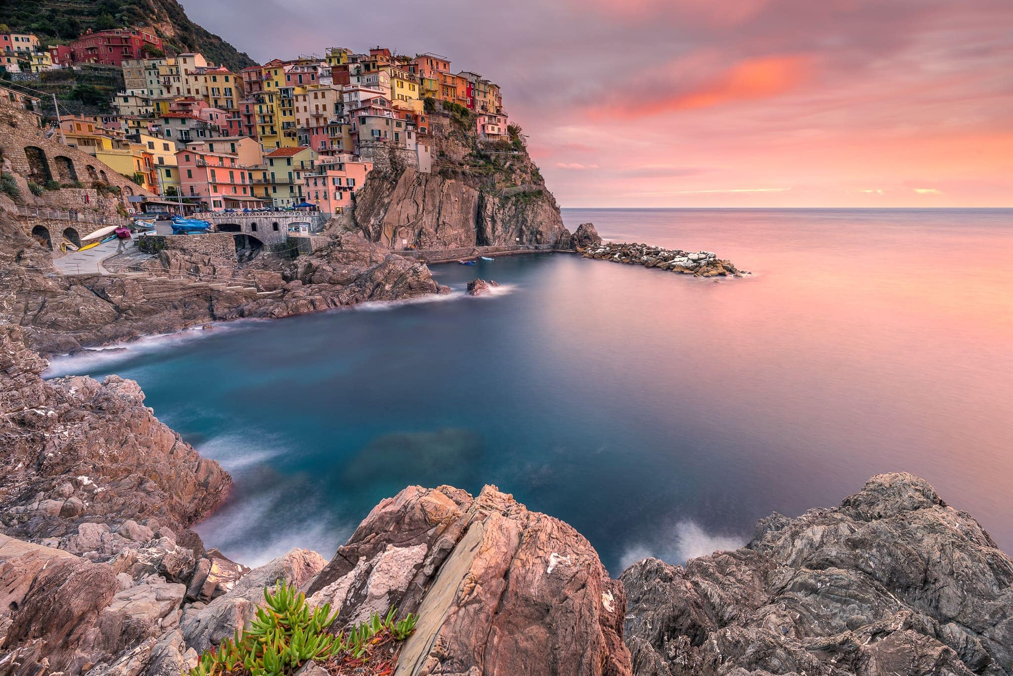 Francesco Gola Seascape Landscape Photography Liguria Manarola Cinque Terre Sunset Long Exposure