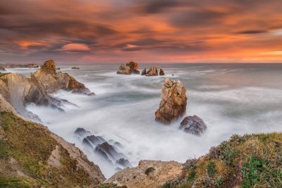 Francesco Gola Seascape Landscape Photography Spain Costa Quebrada Liencres Sunrise Long Exposure