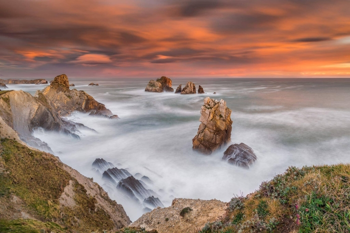 Francesco Gola Seascape Landscape Photography Spain Costa Quebrada Liencres Sunrise Long Exposure