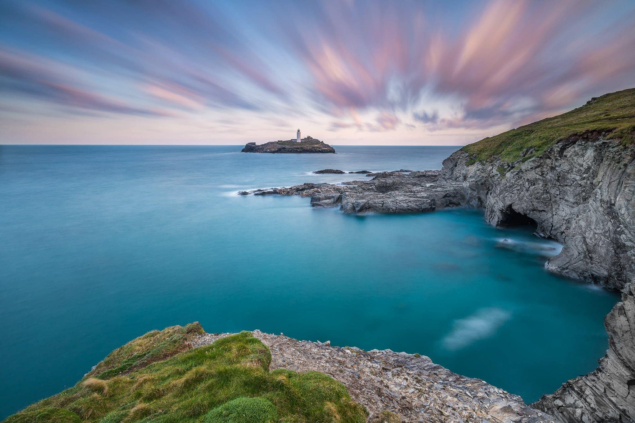 Francesco Gola Seascape Landscape Photography uk Cornwall Godrevy Lighthouse Long Exposure