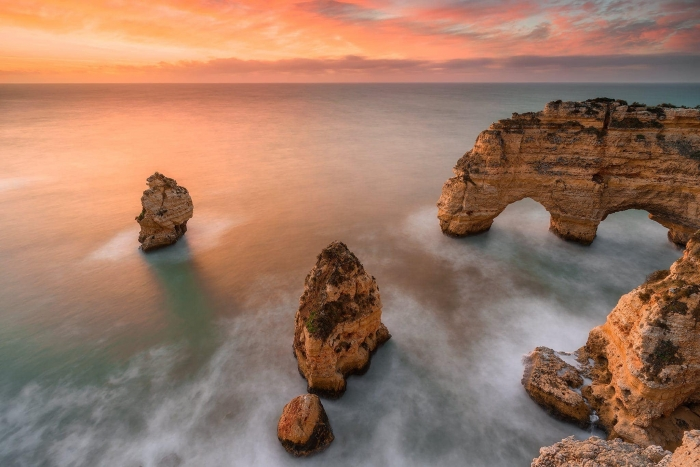 Francesco Gola Seascape Landscape Photography Long Exposure Sunrise Algarve Praia Marinha Portugal