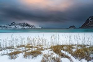 Francesco Gola Seascape Landscape Photography Norway Lofoten Snow Storm Long Exposure Beach Winter