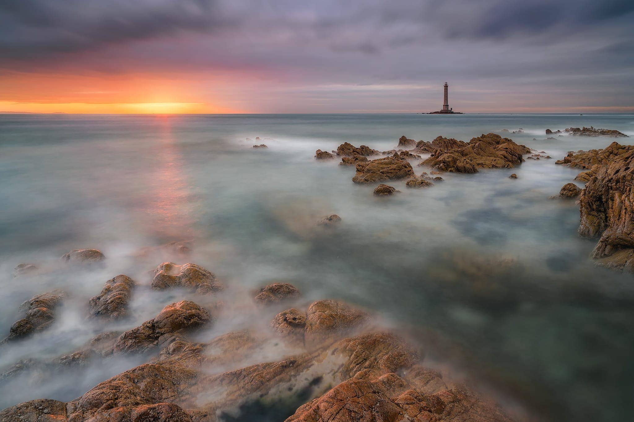 Francesco Gola Seascape Landscape Photography Long Exposure Faro Phare Lighthouse Cap Hague Goury France Normandy Sunset V3