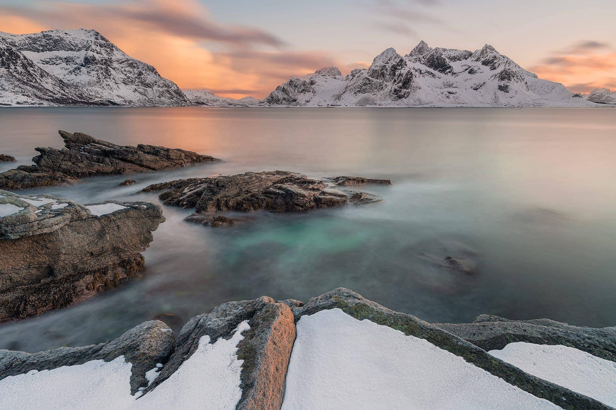 Francesco Gola Seascape Landscape Waterscape Long Exposure Lofoten Vareid Sunset Snow