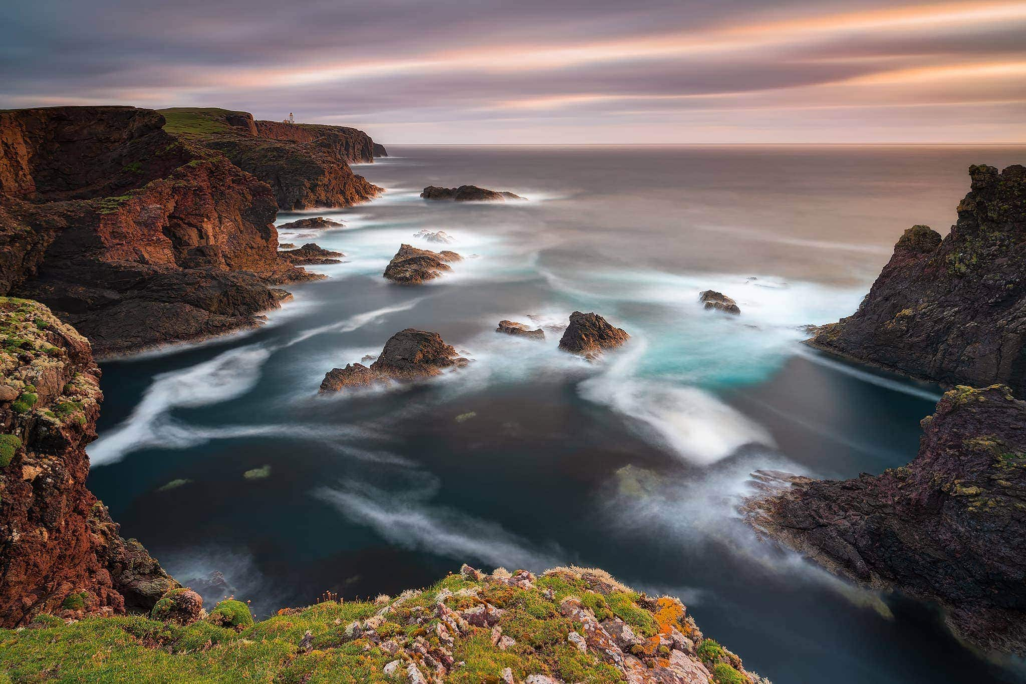 Francesco Gola Seascape Long Exposure Lunga Esposizione Scotland Scozia Shetland Island Isole Europe Europa Sunset Lighthouse