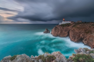 Francesco Gola Seascape Portugal Long Exposure Storm Rain Blue Lighthouse Sao Vicente