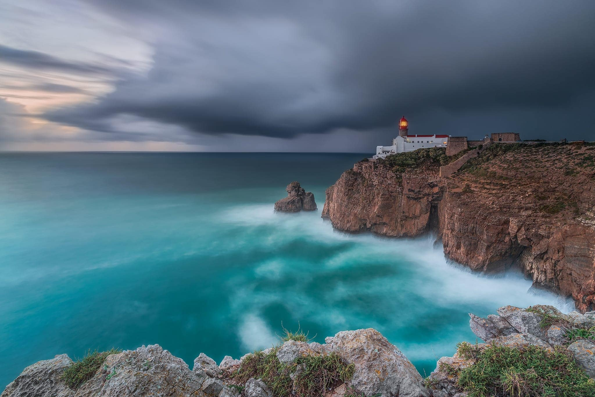 Francesco Gola Seascape Portugal Long Exposure Storm Rain Blue Lighthouse Sao Vicente