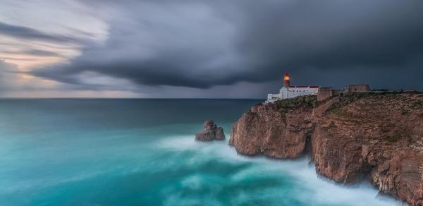 Francesco Gola Seascape Portugal Long Exposure Storm Rain Blue Lighthouse Sao Vicente Cover
