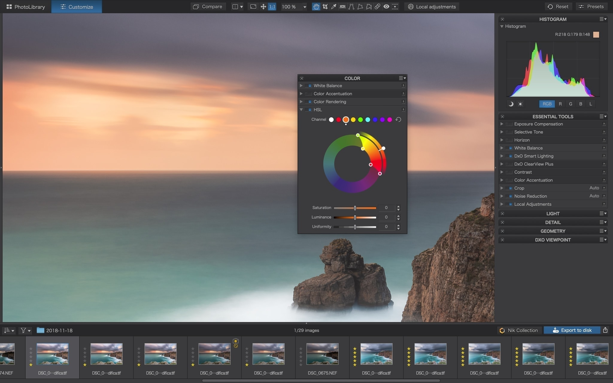 PhotoLab 3 DxO Color Wheel Francesco Gola review