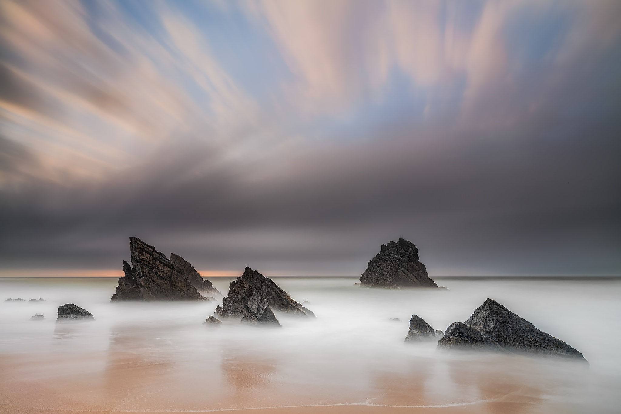 Francesco Gola Long Exposure Seascape Praia Adraga Beach Portugal Sunset