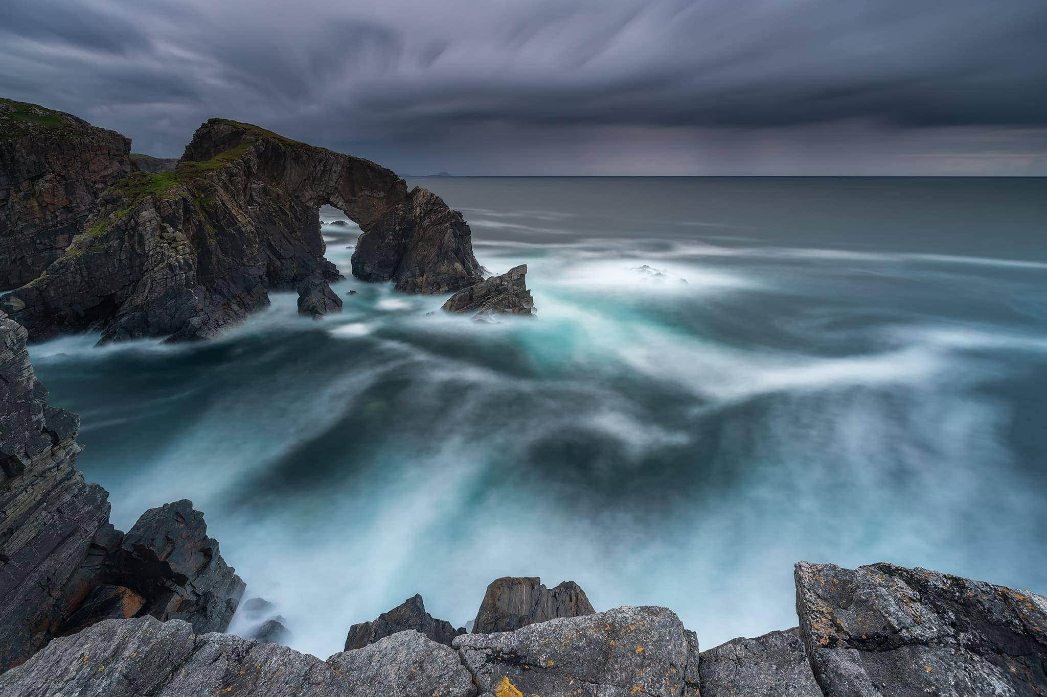 Francesco Gola Storm Approaching in Scotland Sea Arch Isle of Lewis Outer Hebrides Long Exposure