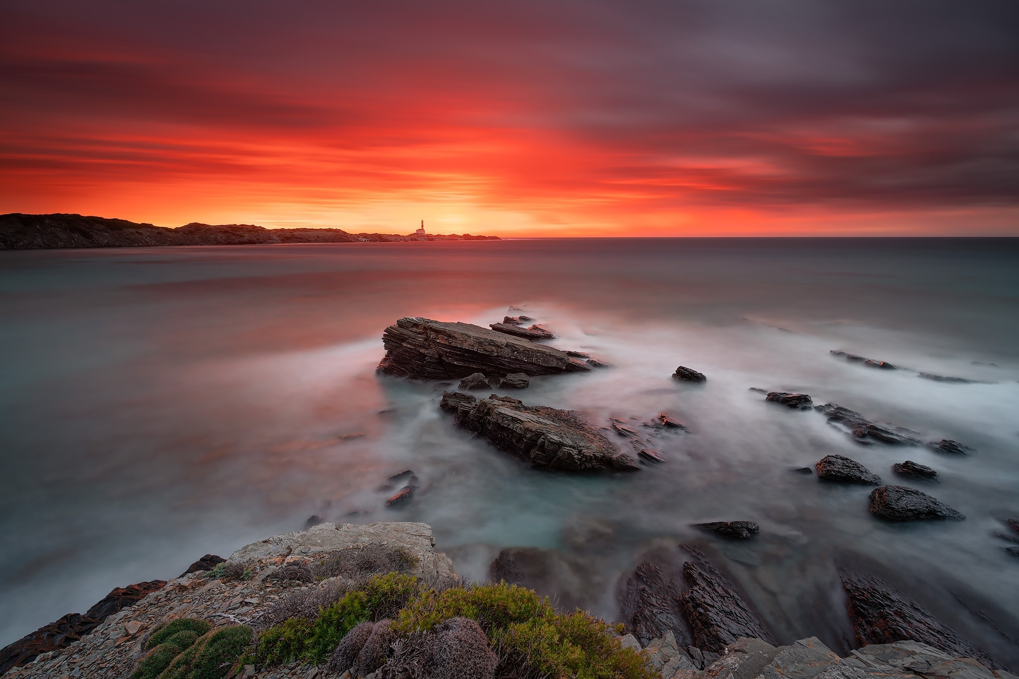 Francesco Gola Long Exposure Seascape Spain Menorca Lighthouse Favaritx Sunrise
