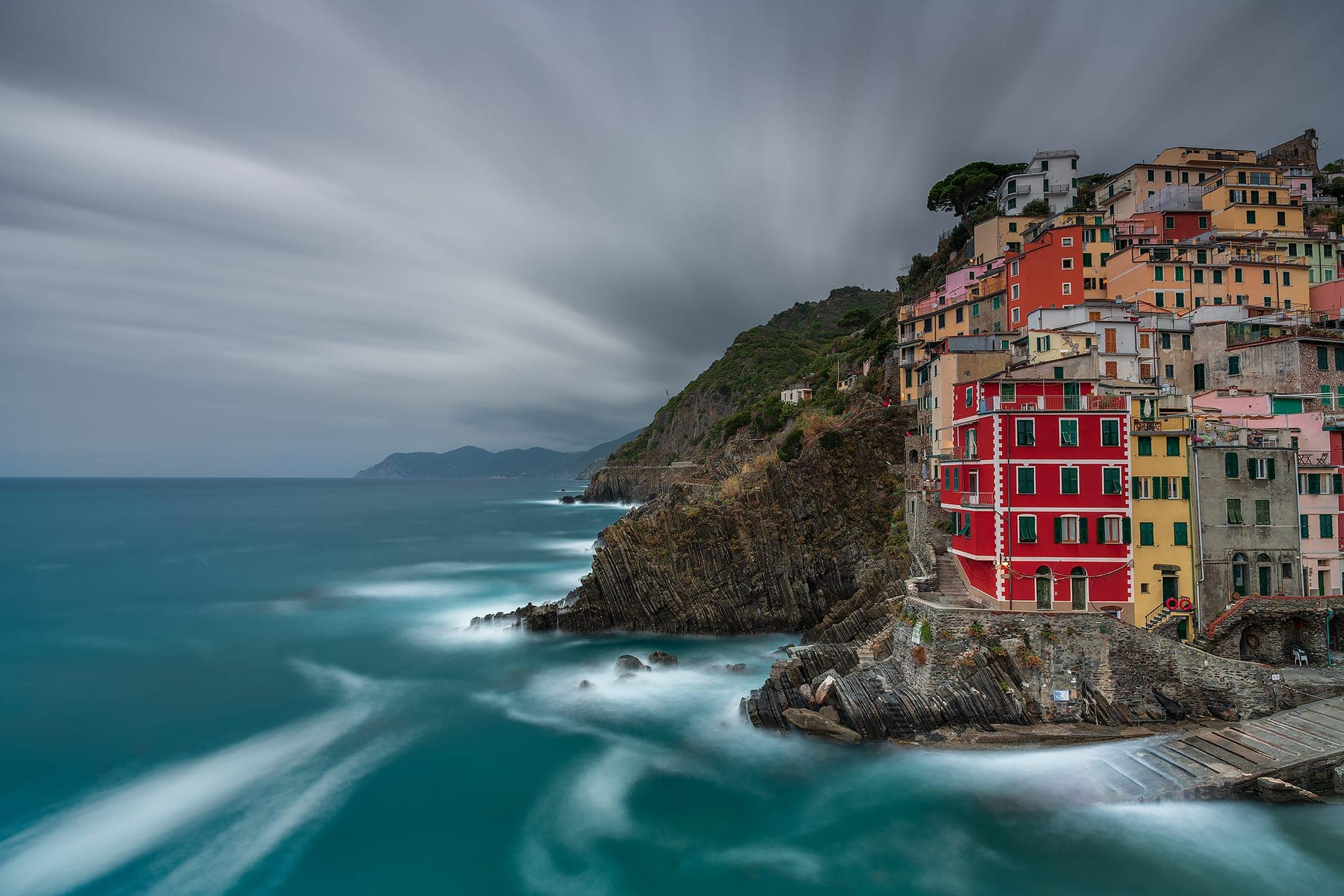 Francesco Gola Landscape Seascape Photography Long Exposure Manarola Storm Winter Italy Italia Cinque Terre Blue Cold