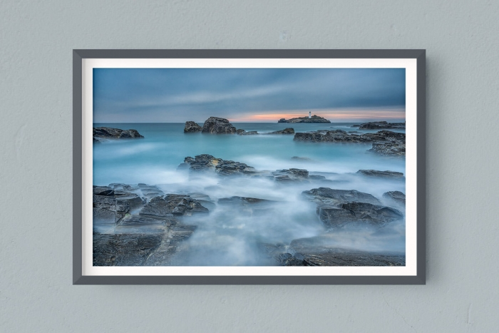 Francesco Gola FineArt Prints Home Interior Design Seascape Landscape Long Exposure UK Cornwall Godrevy Lighthouse Rain Blue Cold
