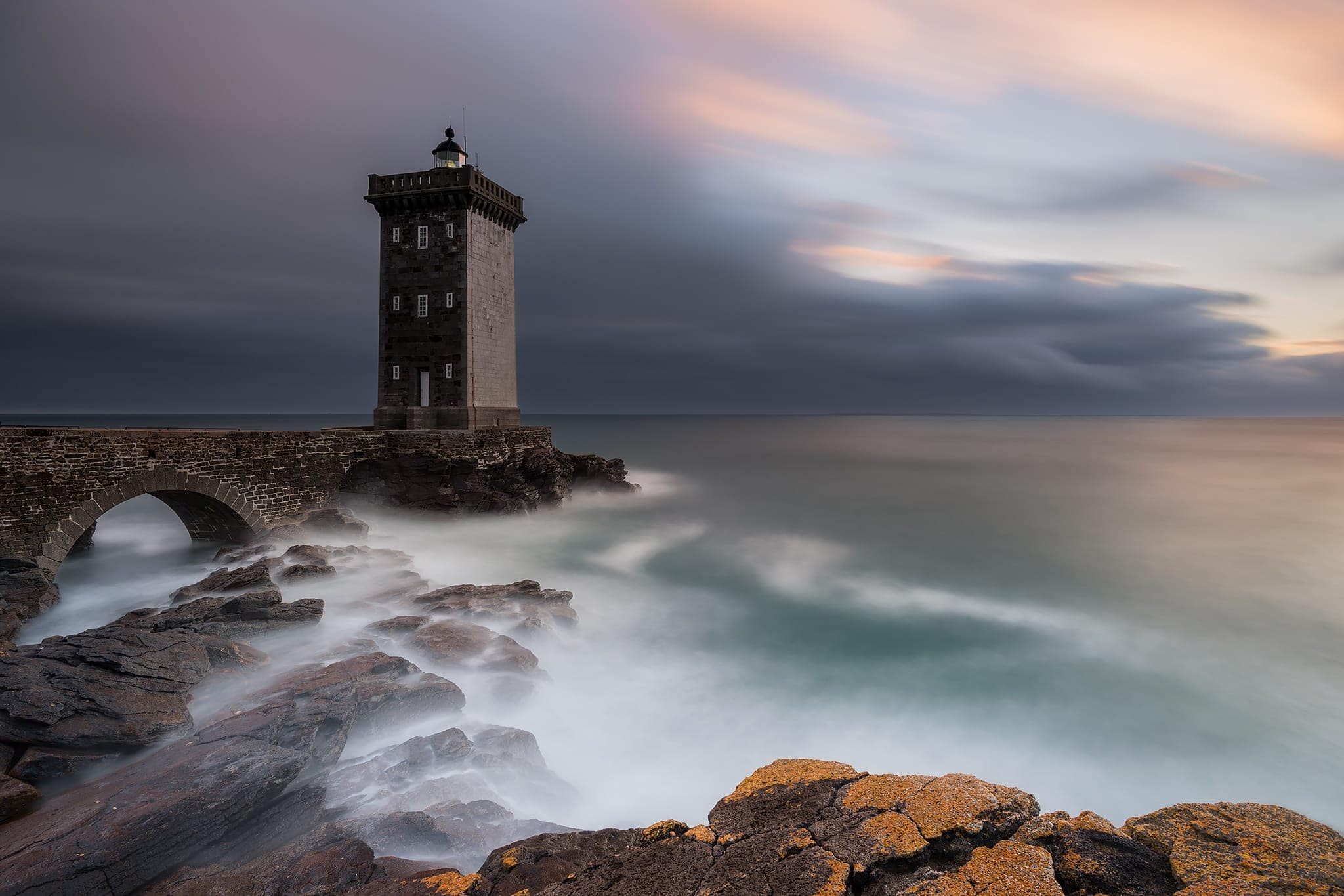 Francesco Gola Seascape Photography Long Exposure Storm France Brittany Bretagne Kermorvan Lighthouse