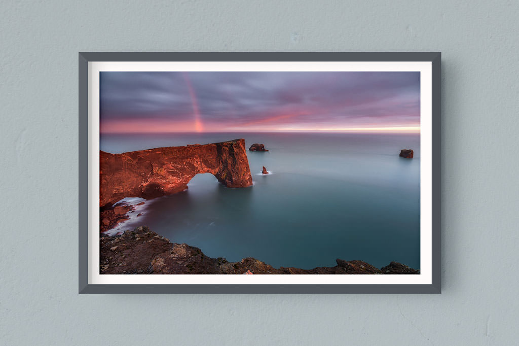 Francesco Gola FineArt Prints Home Interior Design Iceland Rainbow Sunset Sea Arch Long Exposure Seascape Landscape