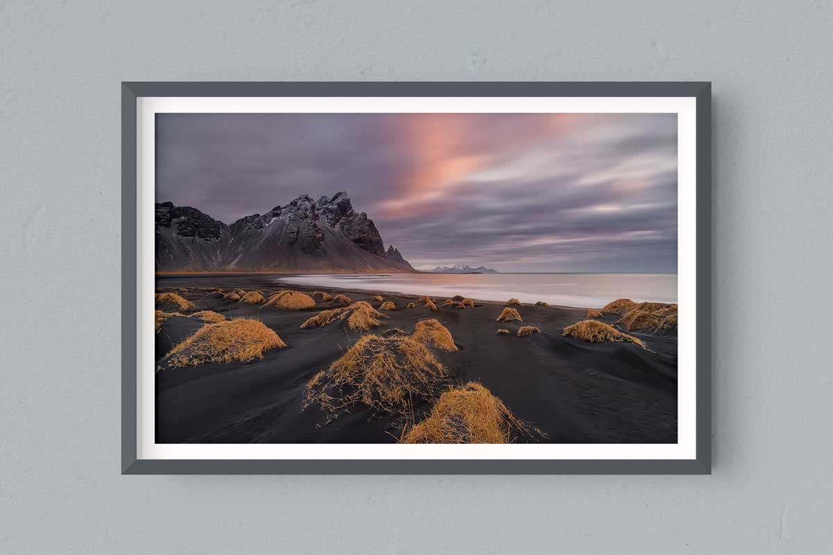 Francesco Gola FineArt Prints Home Interior Design Iceland Vestrahorn Hofn Sunrise Long Exposure Seascape Landscape