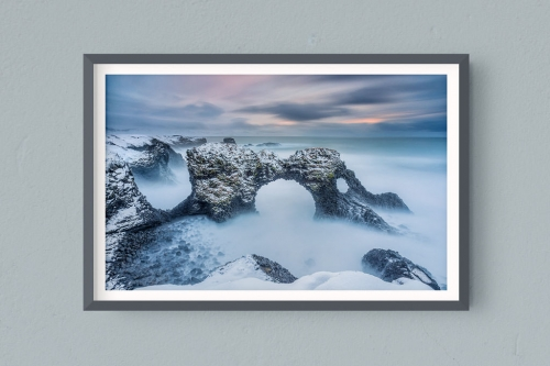 Francesco Gola FineArt Prints Home Interior Design Iceland Arnastarpi Arch Long Exposure Seascape Landscape