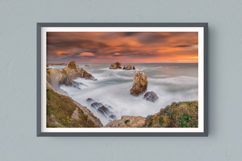 Francesco Gola FineArt Prints Home Interior Design Cantabria Spain Costa Quebrada Liencres Long Exposure Seascape Landscape Santander Sunrise Warm