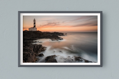 Francesco Gola FineArt Prints Home Interior Design Spain Favaritx Lighthouse Sunset Warm Long Exposure Seascape Landscape