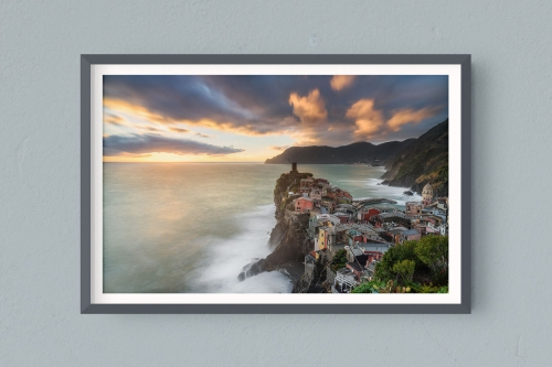 Francesco Gola FineArt Prints Home Interior Design Italy Italia Cinque Terre Vernazza Tramonto Long Exposure Seascape Landscape