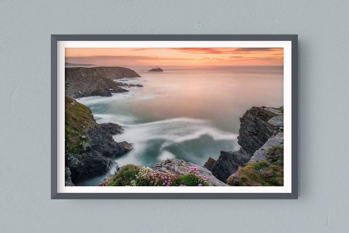 Francesco Gola FineArt Prints Home Interior Design Seascape Landscape Long Exposure UK Cornwall Godrevy Lighthouse Sunset