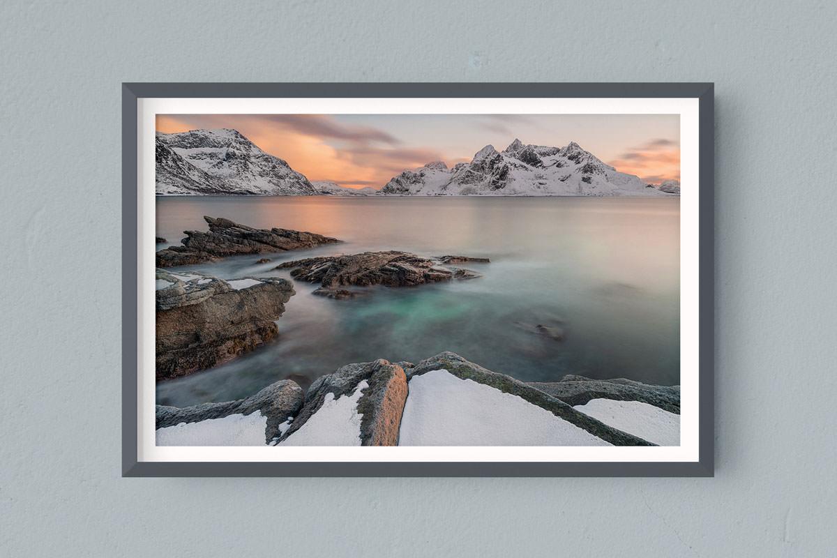 Francesco Gola FineArt Prints Home Interior Design Seascape Landscape Long Exposure Norway Lofoten Sunset Warm Pastel Vareid