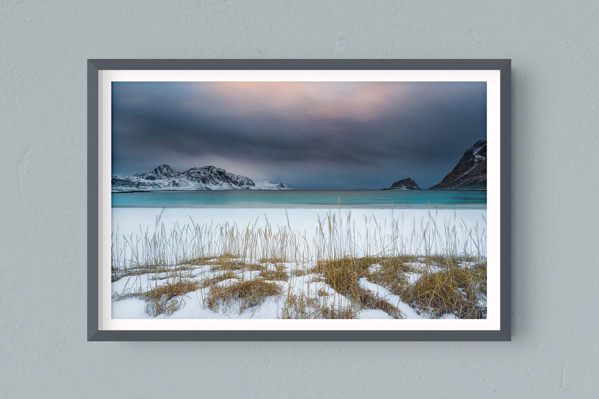 Francesco Gola FineArt Prints Home Interior Design Seascape Landscape Long Exposure Norway Lofoten Beach Winter Snow