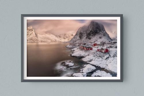 Francesco Gola FineArt Prints Home Interior Design Seascape Landscape Long Exposure Norway Lofoten Reine Sunrise Warm Wind Clouds