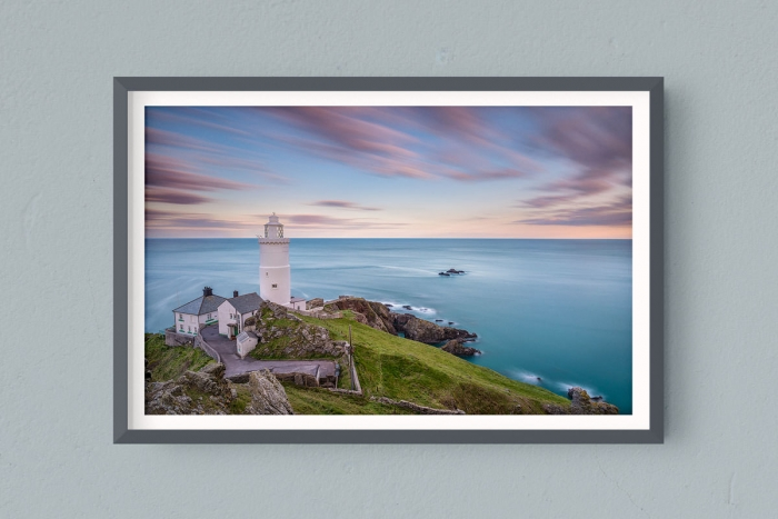 Francesco Gola FineArt Prints Home Interior Design Seascape Landscape Long Exposure England Star Point Lighthouse Devon UK Pastel Warm Sunset
