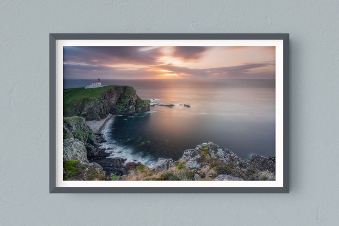 Francesco Gola FineArt Prints Home Interior Design Seascape Landscape Long Exposure Scotland Stoer Lighthouse Warm Sunset