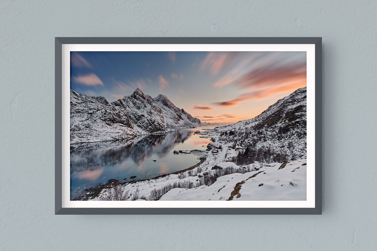 Francesco Gola FineArt Prints Home Interior Design Seascape Landscape Long Exposure Norway Winter Snow Unstad Sunset