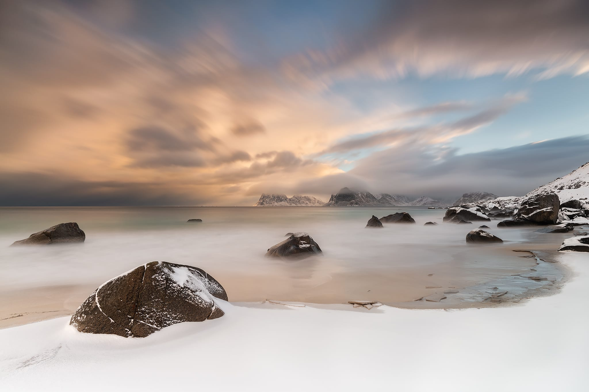 Francesco Gola Long Exposure Seascape Photography Europe Norway Lofoten Islands Warm Sunrise Arctic Sunrise