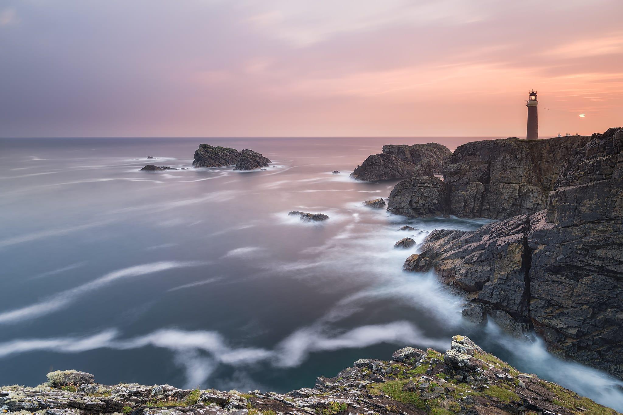 Francesco Gola Seascape Long Exposure Fine Art Photography Butt Lewis Lighthouse Outer Hebrides Scotland UK Sunrise Warm