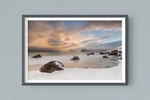 Francesco-Gola-Seascape-Photography-Landscape-Long-Exposure-Fine-Art-Print-Hahnemuhle-Home-Design-Europe-Norway-Lofoten-Snow-Beach